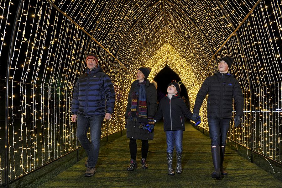 Family walking through illuminated arch at Malvern Winter Glow