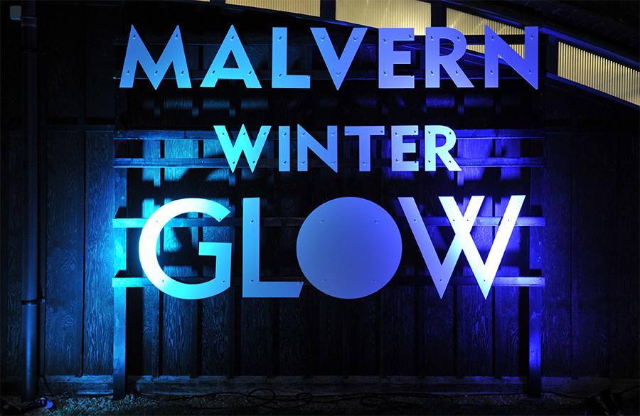 Giant 3D letters reading Malvern Winter Glow
